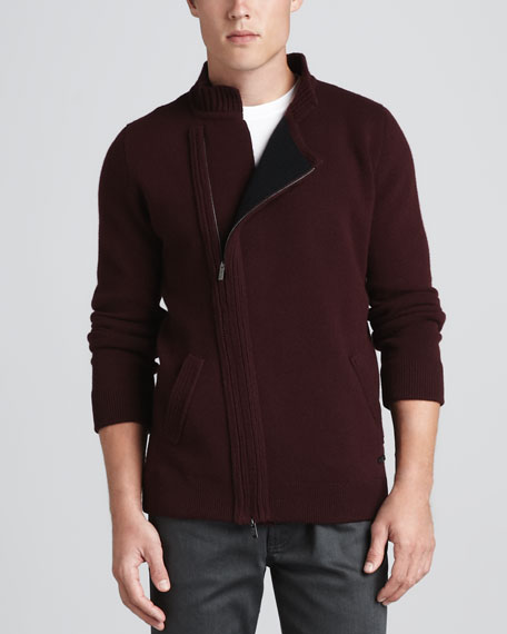 Asymmetrical-Zip-Front Cardigan, Wine