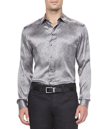 Melange Silk Dress Shirt, White/Black
