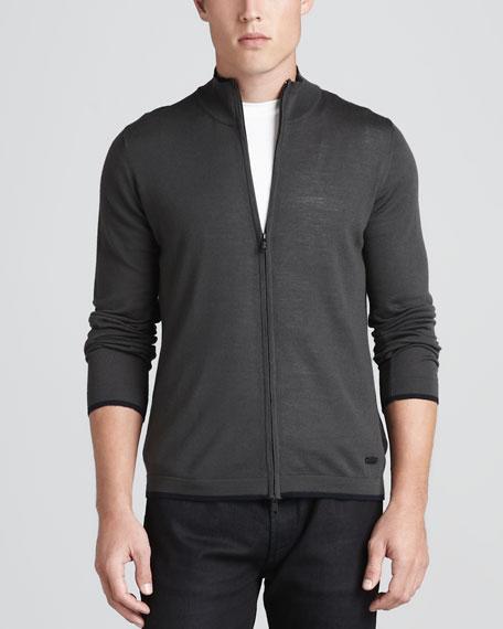Zip-Front Cardigan, Charcoal/Navy