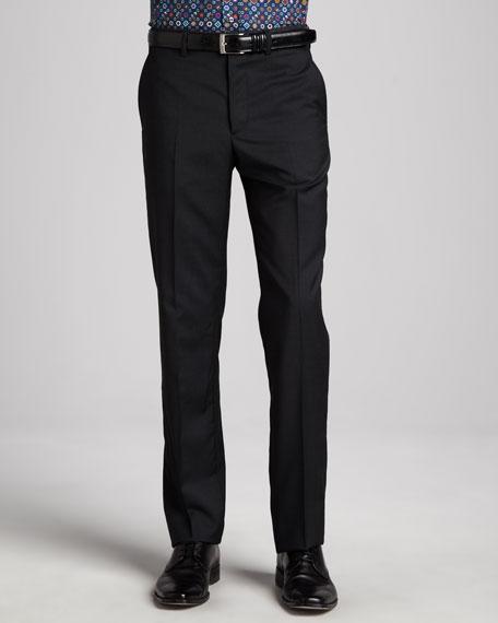 Flat-Front Dress Pants, Charcoal