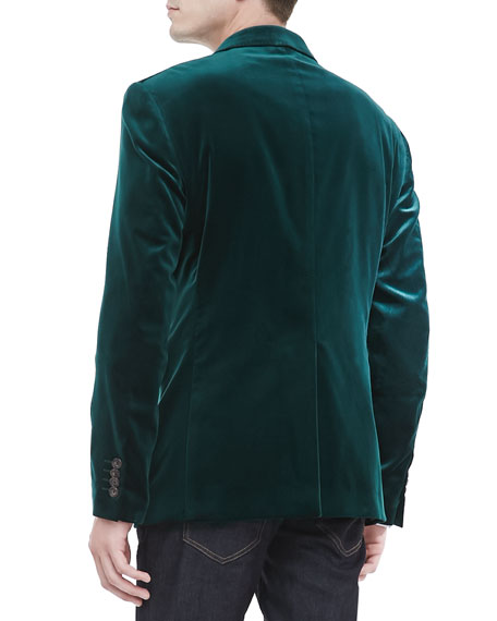 Velvet Evening Jacket with Paisley Lapel, Emerald