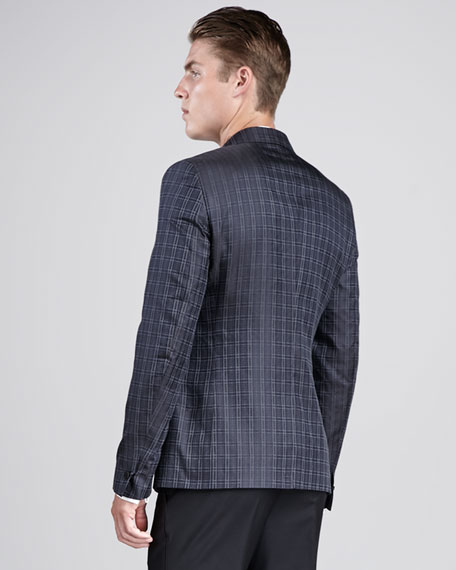 Houndstooth Tuxedo Jacket, Blue/Charcoal
