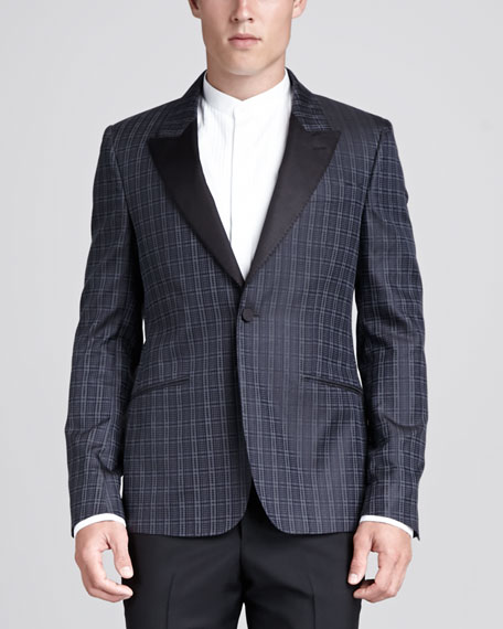 Houndstooth Tuxedo Jacket, Blue/Charcoal