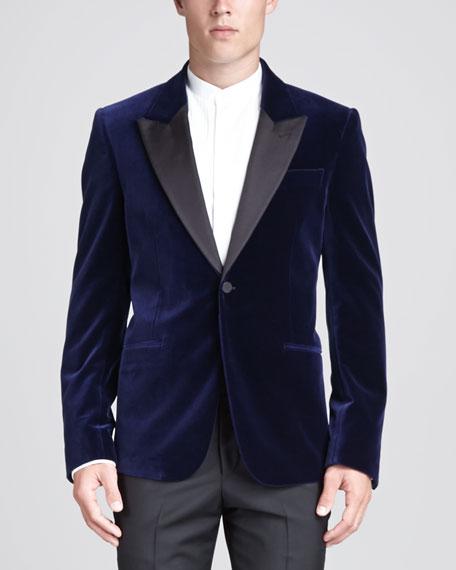 Velvet Tuxedo Jacket, Blue