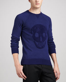 Alexander McQueen Textured Skull Sweater, Blue