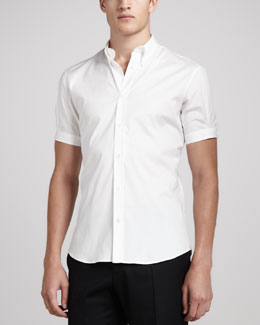 Alexander McQueen Short-Sleeve Button-Down Shirt, White