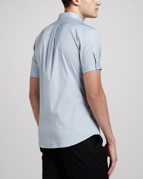 Short-Sleeve Button-Down Shirt, Light Blue