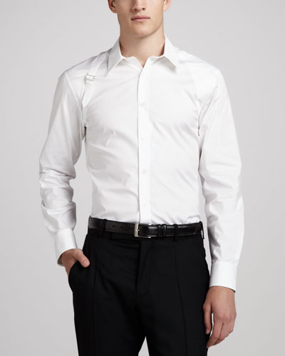 Alexander McQueen Stretch-Poplin Harness Shirt, White