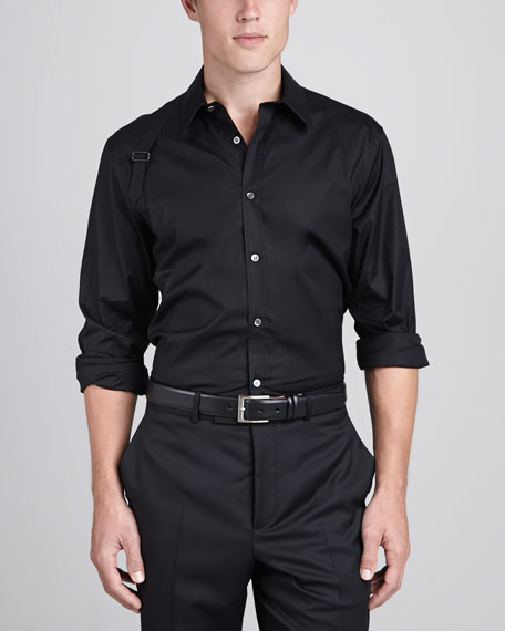Harness-Strap Stretch Shirt, Black