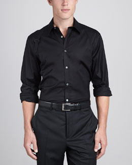 Alexander McQueen Harness-Strap Stretch Shirt, Black