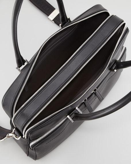 Los Angeles Pebbled Leather Briefcase, Black