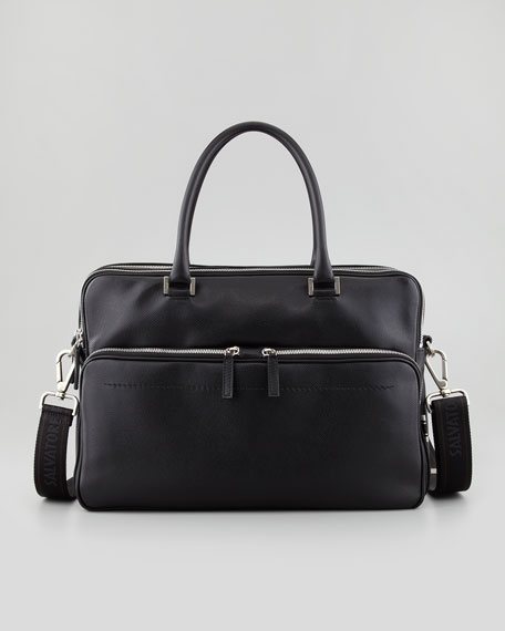 Los Angeles Pebbled Leather Briefcase, Black