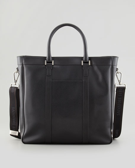 Los Angeles Leather Tote Bag, Black