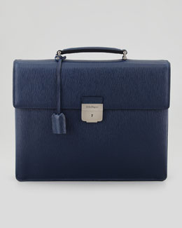 Salvatore Ferragamo Revival Double-Gusset Briefcase, Blue