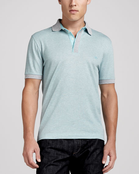 Fine-Striped Polo Shirt, Aqua/Gray