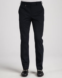 Salvatore Ferragamo Cotton Gabardine Pants, Navy