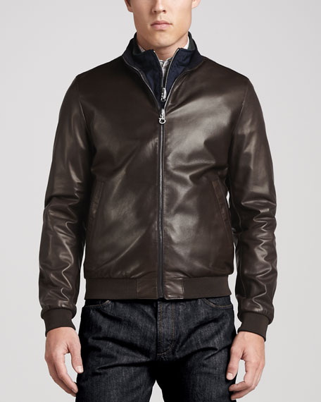 Reversible Leather to Nylon Bomber Jacket, Chocolate/Navy