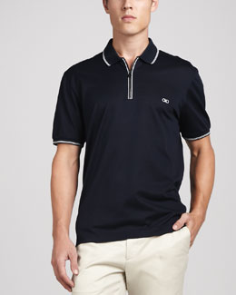 Salvatore Ferragamo Zip Polo, Blue