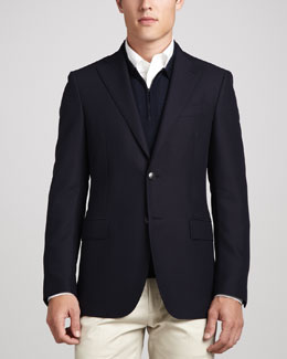 Salvatore Ferragamo Wide-Lapel Blazer, Navy