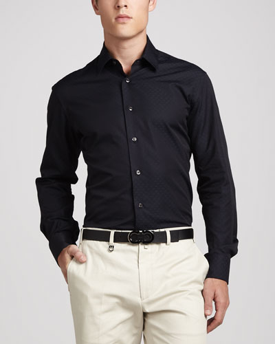 Salvatore Ferragamo Gancini Tonal Woven Sport Shirt, Navy