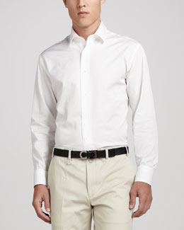 Salvatore Ferragamo Woven Tonal Sport Shirt, White