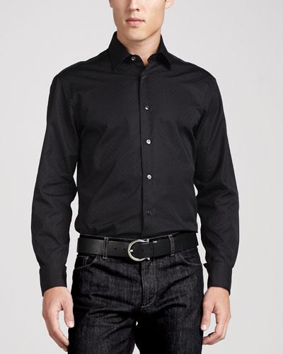 Salvatore Ferragamo Woven Tonal Sport Shirt, Black