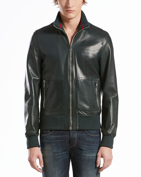 Leather Jacket with Green/Red/Green Collar, Green