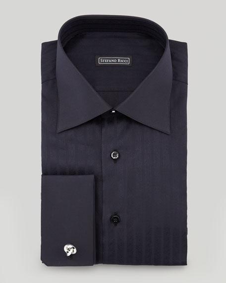 Textured Herringbone Dress Shirt, Black