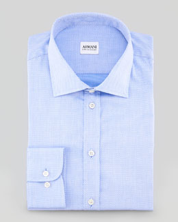 Armani Collezioni Textured Dress Shirt, Light Blue