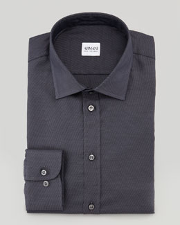 Armani Collezioni Solid Neat Dress Shirt, Dark Gray