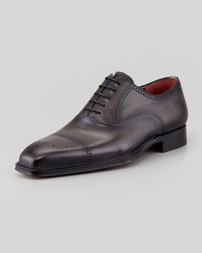 Magnanni for Neiman Marcus Perforated Cap-Toe Oxford, Gray