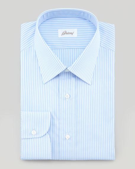 Satin Stripe Dress Shirt, Blue
