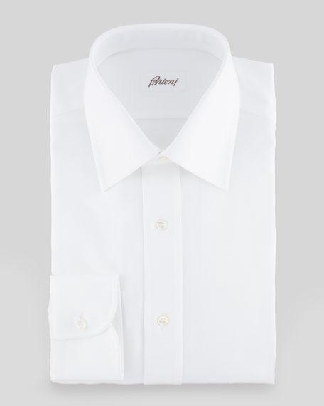 Tonal Herringbone Dress Shirt, White