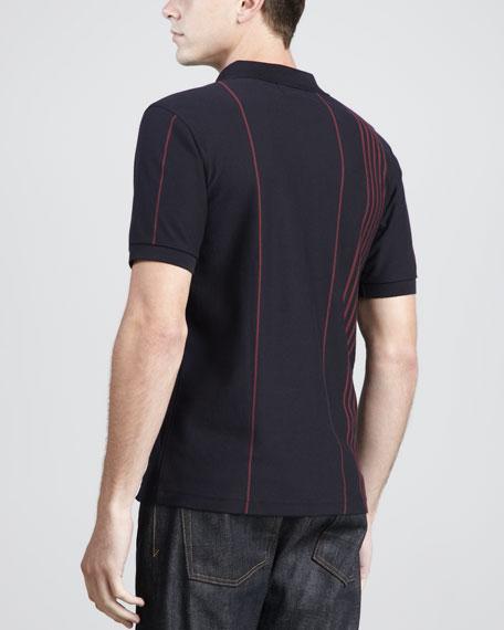 Vertical-Stripe Polo Shirt, Navy