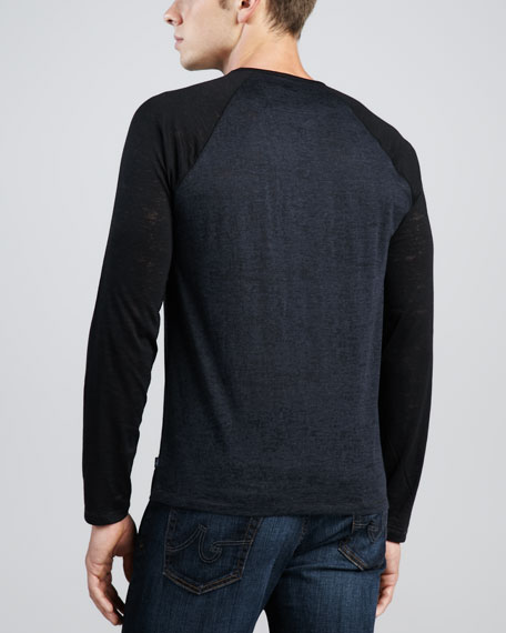 Colorblock Long-Raglan-Sleeve Shirt, Navy