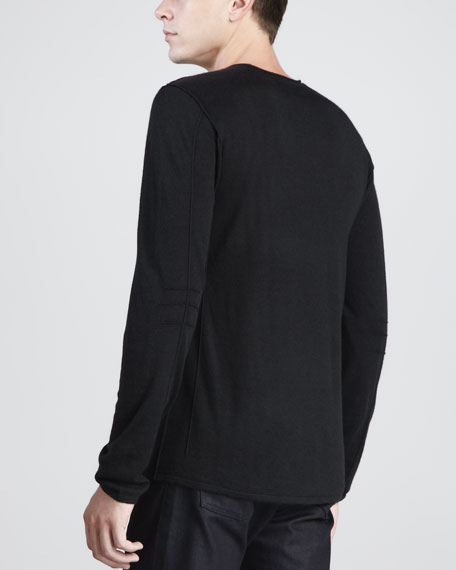 V-Neck Reverse-Seam Sweater, Black