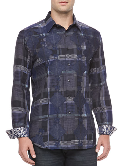 Sport Shirt with Diamond Overlay, Blue/Gray