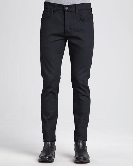 Hudson Sartor Raw Black Slim Straight-Leg Jeans