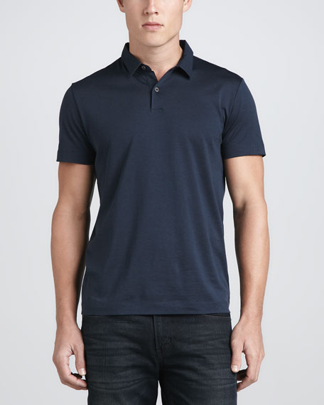 Bron Woven-Collar Cotton-Silk Polo, Submission