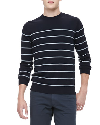 Striped Crewneck Sweater, Eclipse