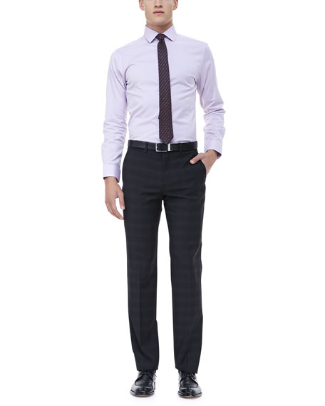 Windowpane Plaid Dress Pant, Black