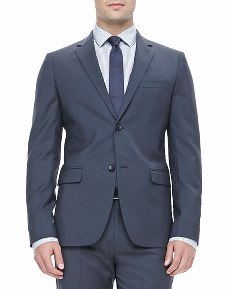 Notched Lapel Sport Coat, Blue/Gray