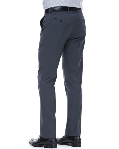 Flat-Front Dress Pants, Blue/Gray