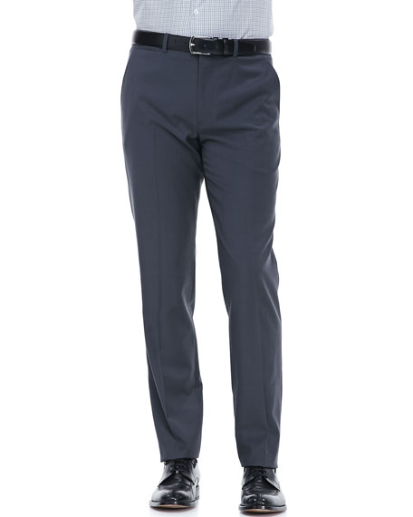 Flat-Front Dress Pants, Blue/Gray