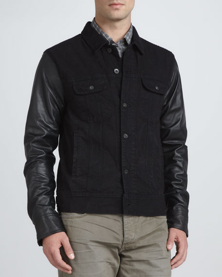 Denim Jacket with Leather Sleeves, Black