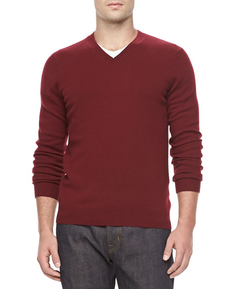 Cashmere V-Neck Sweater, Wine