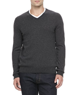 Vince Cashmere V-Neck Sweater, Charcoal