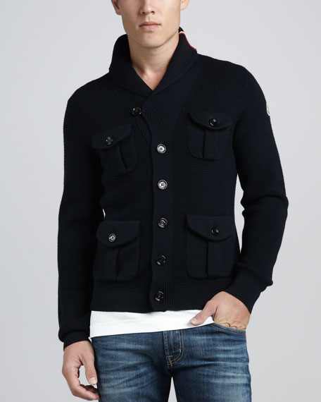 4-Pocket Knit Cardigan, Navy