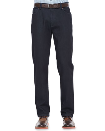 Stretch Cotton-Cashmere Jeans, Dark Indigo