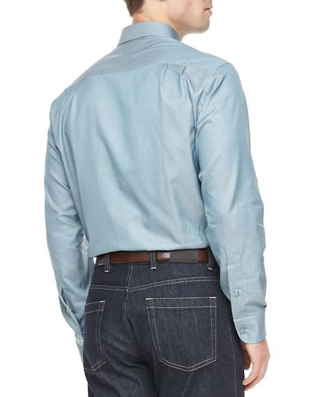 3-Ply Cotton Shirt, Light Petrol Blue